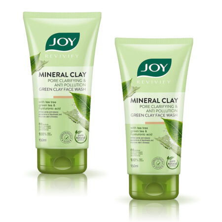 Joy Revivify Mineral Clay Pore Clarifying and Anti-Pollution Green Clay Face wash, 150ml Pack of 2