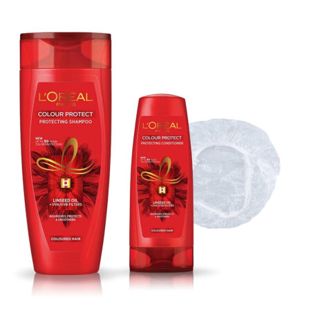 L'Oreal Paris Color Protect Shampoo & Conditioner with Shower Cap (396ml + 71.5ml)