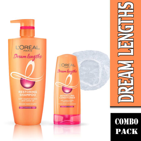 L'Oreal Paris Dream Lengths Shampoo & Conditioner, With Shower Cap, Combo Pack
