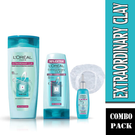 L'Oreal Paris Extraordinary Clay Shampoo, Conditioner & Scalp Refresher(Combo Pack)