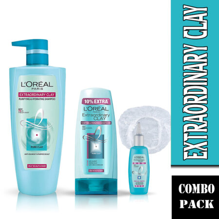 L'Oreal Paris Extraordinary Clay Shampoo, Conditioner & Scalp Refresher (Combo Pack)