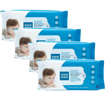 Mee Mee Caring Baby Wipes With Aloe Vera, (72 Pcs) Pack of 4