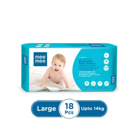 Mee Mee Premium Breathable Baby Diapers With Wetness Indicator (Large) (18 Pieces)