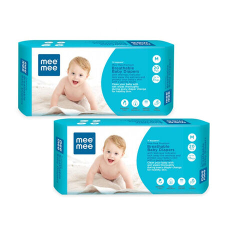 Mee Mee Breathable Premium Baby Diaper Pants with Wetness Indicator and Leak-Proof Edges, 40Pcs (Med