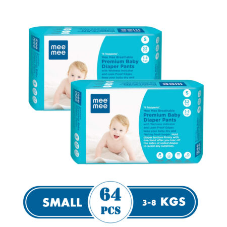 Mee Mee Breathable Premium Baby Diaper Pants with Wetness Indicator and Leak-Proof Edges, 32Pcs (Sma