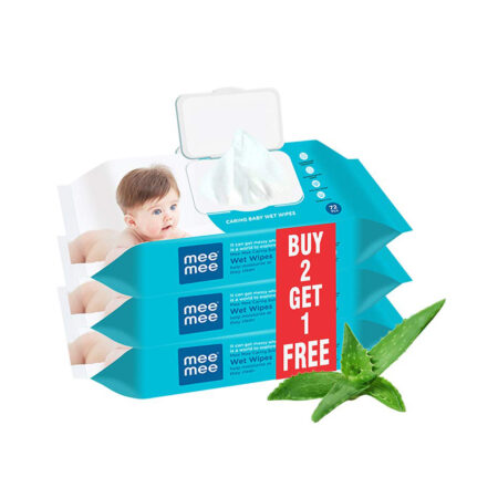 Mee Mee Caring Baby Wipes With Aloe Vera, (72 Pcs) Pack of 3