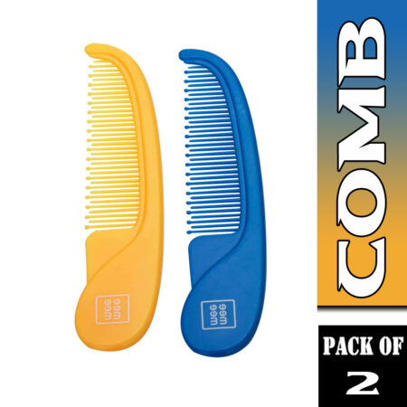 Mee Mee Easy Grip Baby Comb Set, Blue & Yellow (Pack of 2)