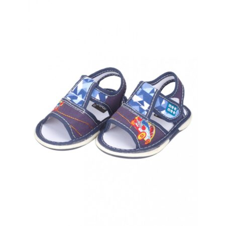 Mee Mee First Walk Baby Sandals With Chu Chu Sound (Car Embroidery) (Blue)