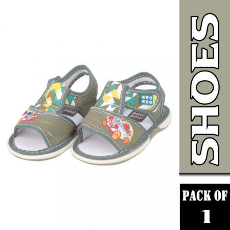 Mee Mee First Walk Baby Sandals With Chu Chu Sound (Car Embroidery) (Light Green)