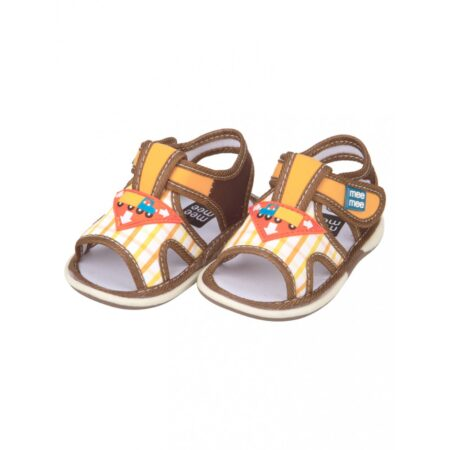 Mee Mee First Walk Baby Sandals With Chu Chu Sound (Checkered Print) Yellow