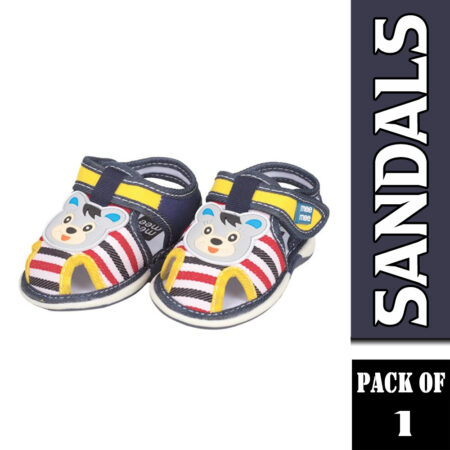 Mee Mee First Walk Baby Sandals With Chu Chu Sound (Stripes), Grey