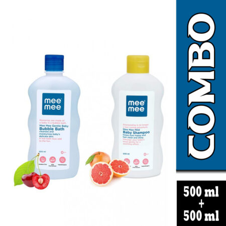 Mee Mee Mild Baby Shampoo And Gentle Bubble Bath With Fruit Extracts (500ml + 500ml)