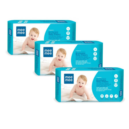 Mee Mee Premium Breathable Baby Diapers With Wetness Indicator (Large) (54 Pieces)