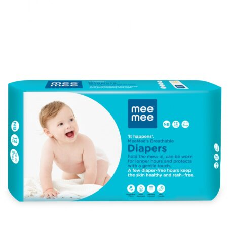Mee Mee Premium Breathable Baby Diapers With Wetness Indicator (New Born) (12 Pieces)