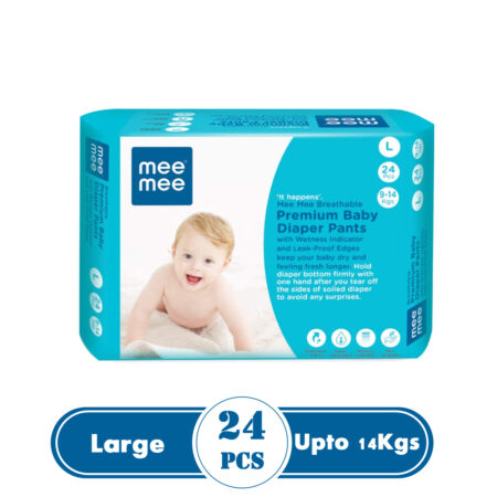 Mee Mee Premium Breathable Baby Diapers With Wetness Indicator (Large) (24 Pieces)