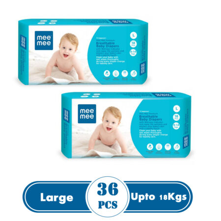 Mee Mee Premium Breathable Baby Diapers With Wetness Indicator (Large) (36 Pieces)