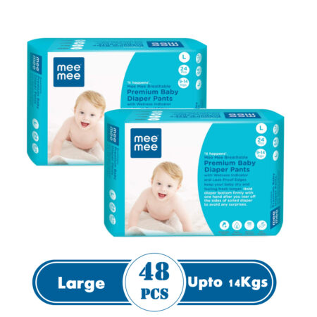Mee Mee Premium Breathable Baby Diapers With Wetness Indicator (Large) (48 Pieces)