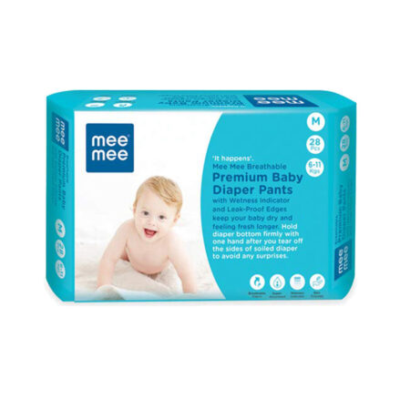 Mee Mee Breathable Premium Baby Diaper Pants with Wetness Indicator and Leak-Proof Edges, 28Pcs (Med