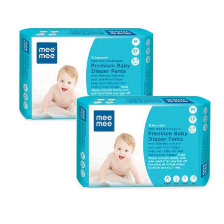 Mee Mee Breathable Premium Baby Diaper Pants with Wetness Indicator and Leak-Proof Edges, 56Pcs (Med