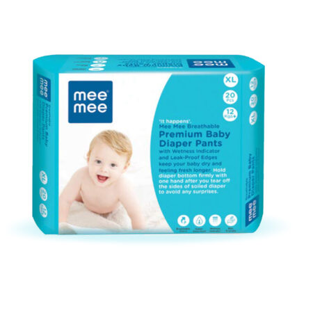 Mee Mee Premium Breathable Baby Diapers with Wetness Indicator (XLarge – 20 Pieces)
