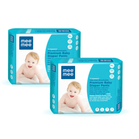 Mee Mee Premium Breathable Baby Diapers with Wetness Indicator (XLarge – 20 Pieces) Pack of 2