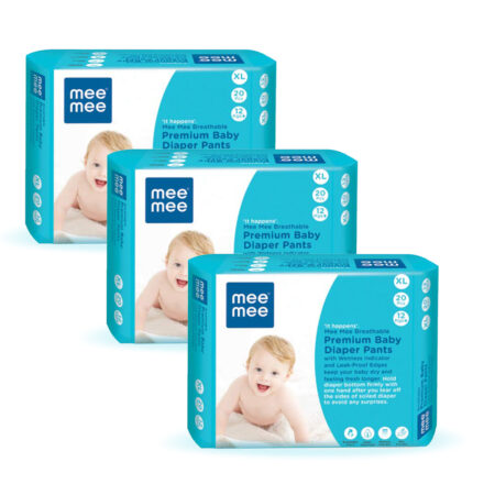 Mee Mee Premium Breathable Baby Diapers with Wetness Indicator (XLarge – 20 Pieces) Pack of 3