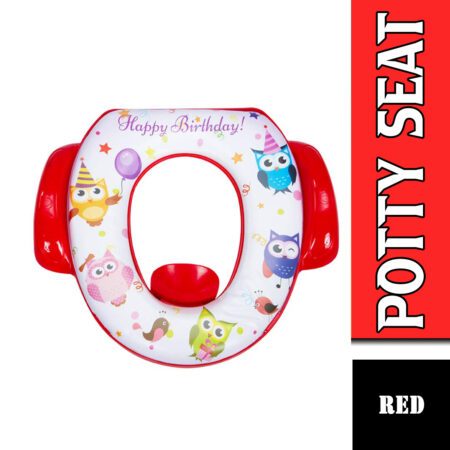 Mee Mee Soft Cushioned Potty Seat with Support Handles (with Easy Grip Handles, Red)