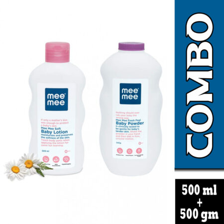 Mee Mee Soft Moisturizing Baby Lotion With Fruit Extracts And Fresh Feel Baby Powder (500ml + 500gm)