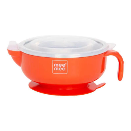 Mee Mee Stay Warm Baby Steel Bowl With Suction Base, (Red)