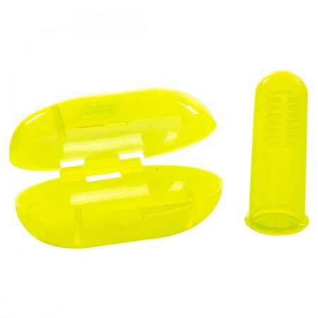 Mee Mee Unique Wide Bristles Tooth & Gum Cleaning Finger Brush With Storage Case, (Yellow)