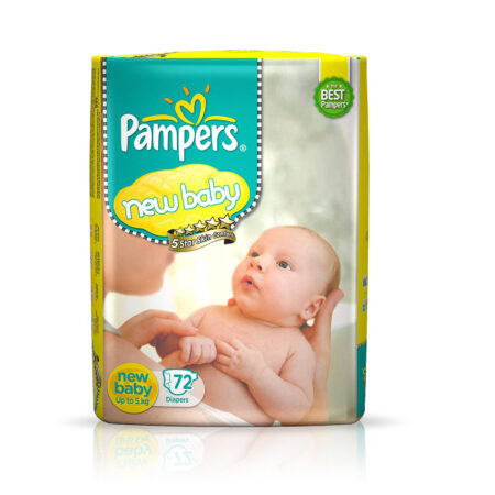 Pampers Active Baby Diapers, New Born, Extra Small, (NB, XS) size, 72 Count, Taped style diapers