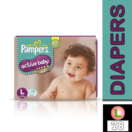 Pampers Active Baby Taped Diapers, Large size diapers, (LG) 78 count, taped style custom fit