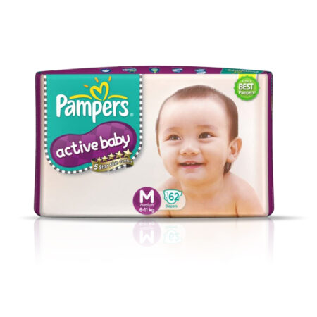Pampers Active Baby Taped Diapers, Medium size diapers, (MD) 62 count, taped style custom fit