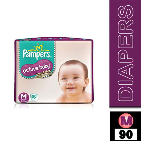 Pampers Active Baby Taped Diapers, Medium size diapers, (MD) 90 count, taped style custom fit