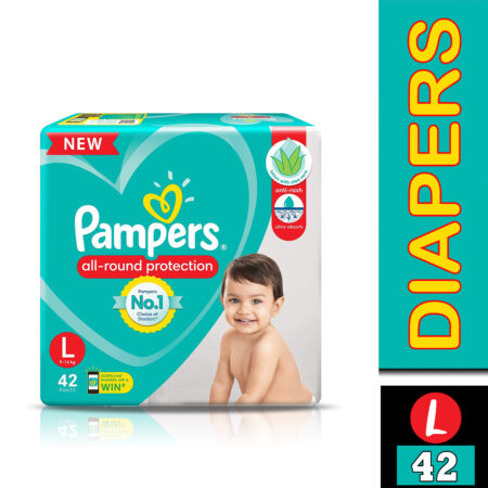 Pampers All round Protection Pants, Large size baby diapers (L) 42 Count