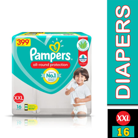 Pampers All round Protection Pants, Double Extra Large size baby diapers (XXL) 16 Count