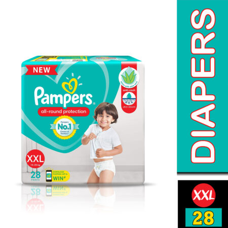 Pampers All round Protection Pants, Double Extra Large size baby diapers (XXL) 28 Count