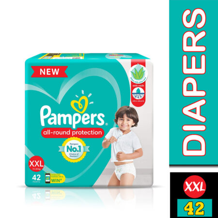 Pampers All round Protection Pants, Double Extra Large size baby diapers (XXL) 42 Count