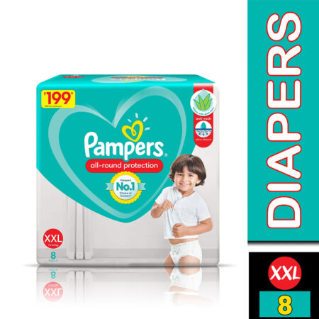 Pampers All round Protection Pants, Double Extra Large size baby diapers (XXL) 8 Count