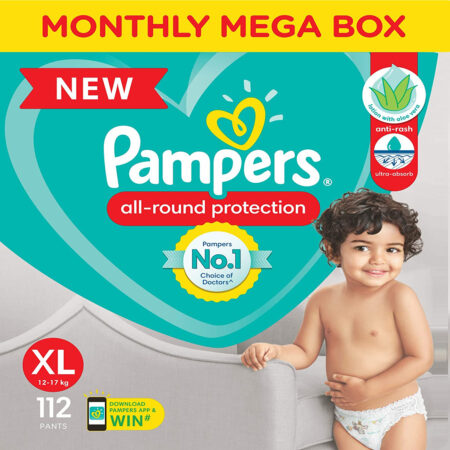 Pampers All round Protection Pants, Extra Large size baby diapers (XL) 112 Count