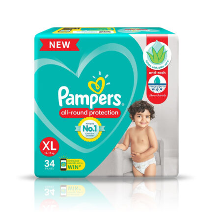 Pampers All round Protection Pants, Extra Large size baby diapers (XL) 34 Pants