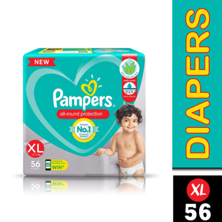 Pampers All round Protection Pants, Extra Large size baby diapers (XL) 56 Pants