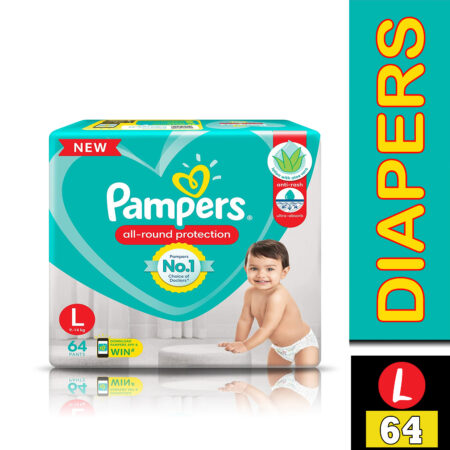 Pampers All round Protection Pants, Large size baby diapers (L) 64 Count