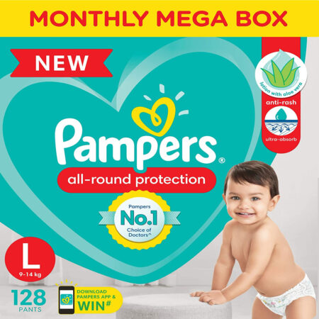 Pampers All round Protection Pants, Large size baby diapers (L) 128 Count