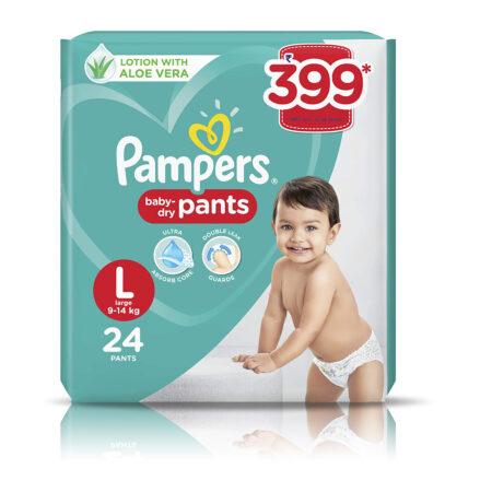 Pampers All round Protection Pants, Large size baby diapers (L) 24 Count
