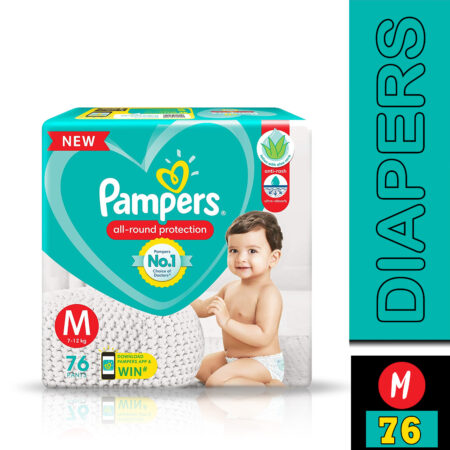 Pampers All round Protection Pants, Medium size baby diapers (M) 76 Count