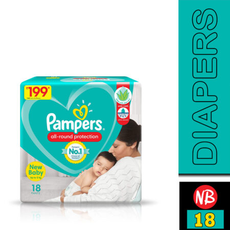 Pampers All round Protection Pants, New Born, Extra Small size baby diapers (NB,XS) 18 Count