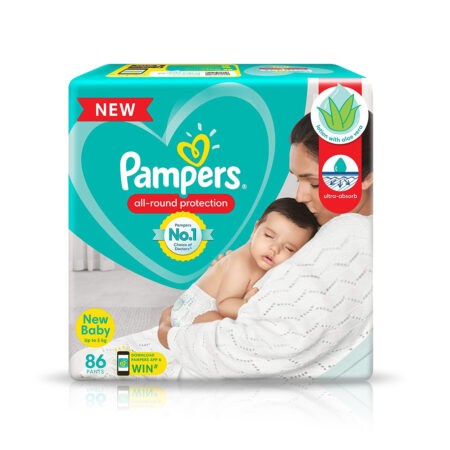 Pampers All round Protection Pants, New Born, Extra Small size baby diapers (NB,XS) 186 Count