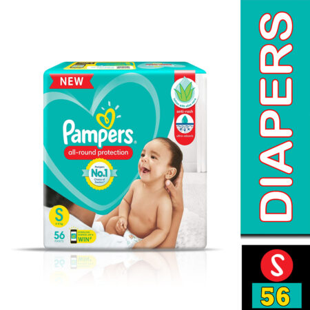 Pampers All round Protection Pants, Small size baby diapers (S) 56 Count