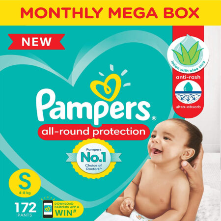 Pampers All round Protection Pants, Small size baby diapers (S) 172 Count